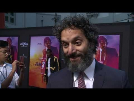 "Jason Mantzoukas  arrives at the ""JOHN WICK 3"" red carpet in LA."