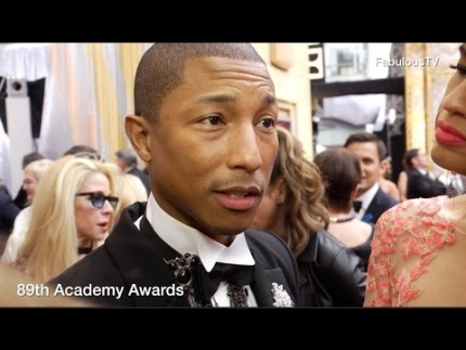 Pharrell Williams & producing partner Mimi Valdes at Oscars 2017 89th Academy Awards red carpet on