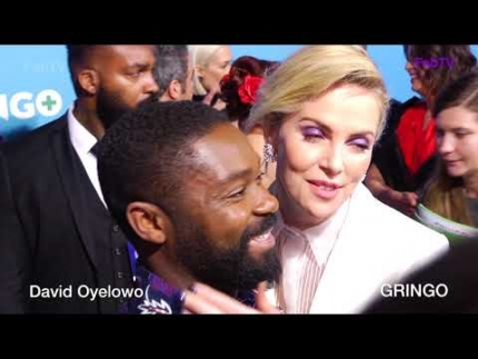 David Oyelowo gets kiss from Charlize Theron at 'GRINGO' premiere!!!!