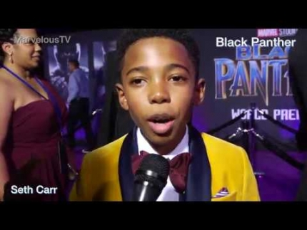 Seth Carr at 'BLACK PANTHER' red carpet premiere