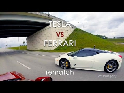 Tesla Model S P85D vs Ferrari 458 Italia
