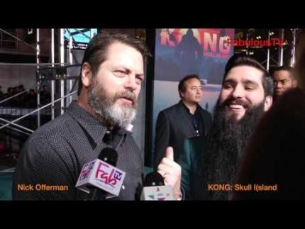 Nick Offerman & director Jordan Vogt-Roberts at KONG: Skull Island premiere