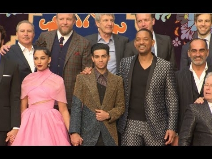 """Aladdin"" purple carpet arrivals with Naomi Scott, Mena Massoud & Will Smith"