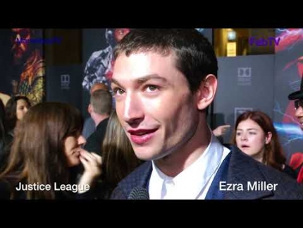 "Ezra Miller ""THE FLASH"" @ Justice League premiere on FabTV"