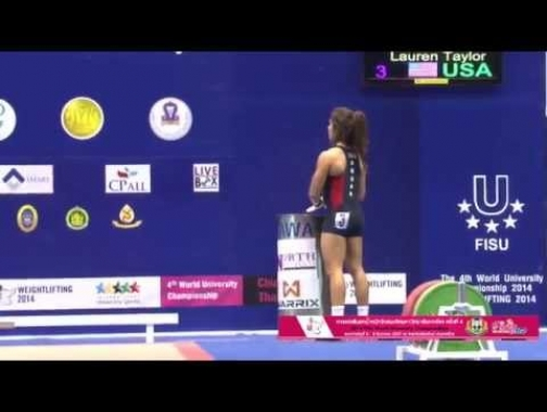 Lauren Fisher 80kg Snatch and 108kg Clean and Jerk at 2014 University...