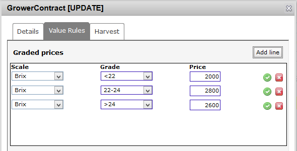 New Grower Value rules tab
