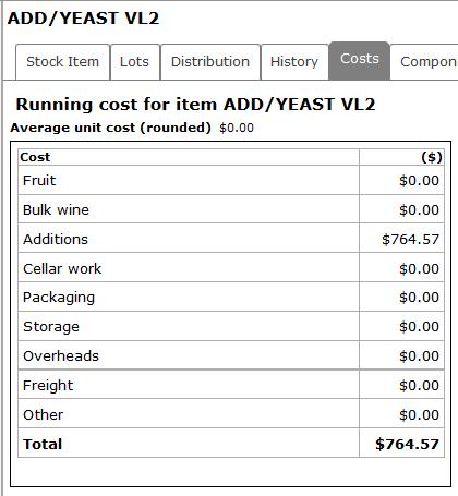 New Stock Item Costs tab