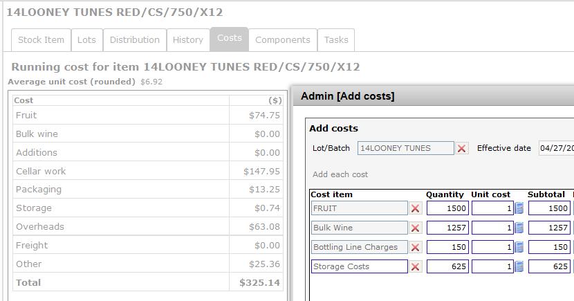 Adding costs - ad hoc1