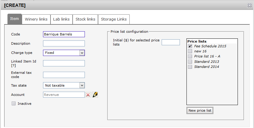 Create new price item - barrel category fixed chgs