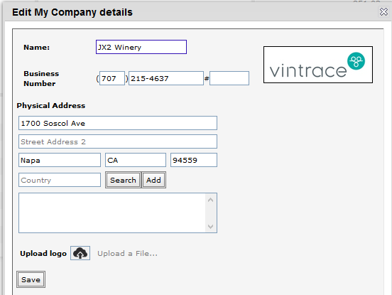 vintrace logo in Edit my copmpany