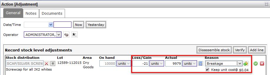 Inventory - adjustment
