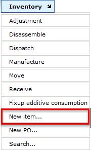 Inventory - new item