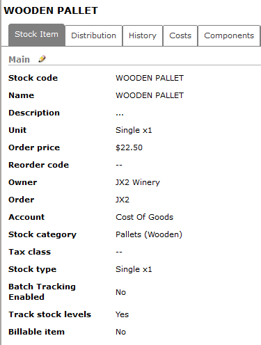 Mfg - pallet stock item