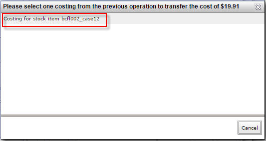 Select transfer costing