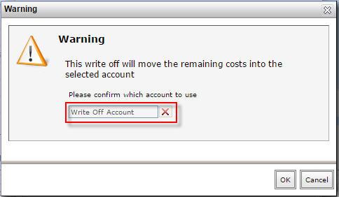 Warning - select write off acct