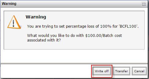 Warning - write off