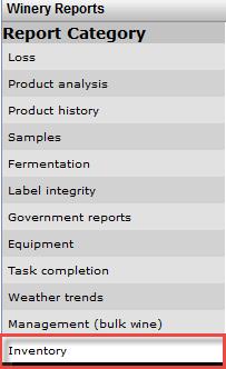 Reports menu - inventory