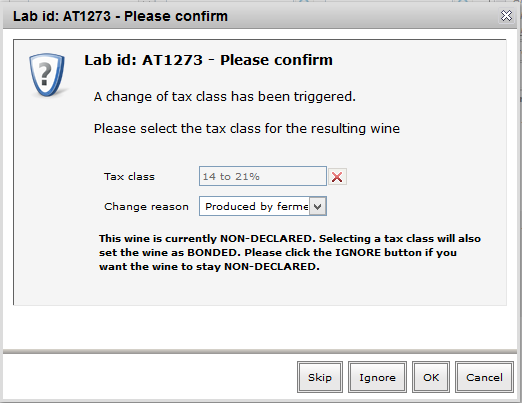 Tax class declaration from lab console