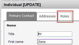Address book - Roles tab