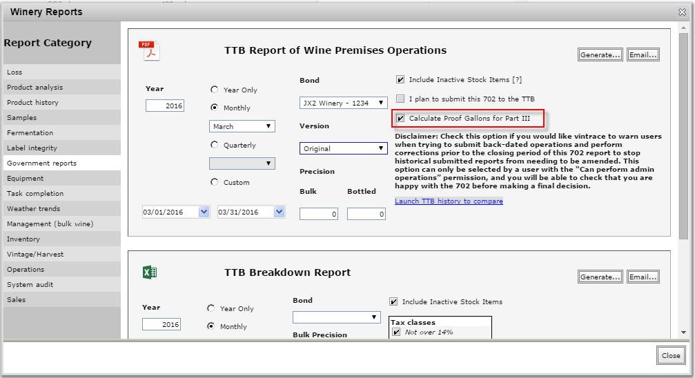 Generate TTB report