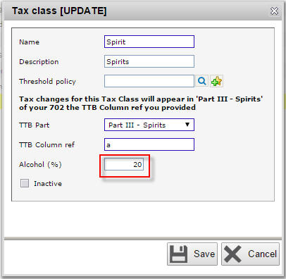 Input alcohol percentage in spirit tax class