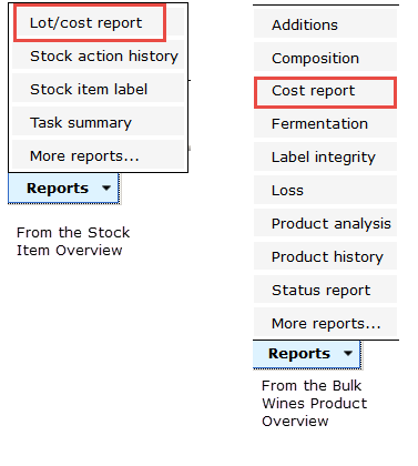Costing Report from stock and bulk