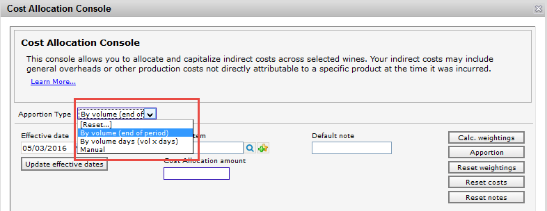Cost Allocation Console - Set Type