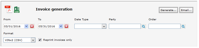 Invoice Generating Report Setup