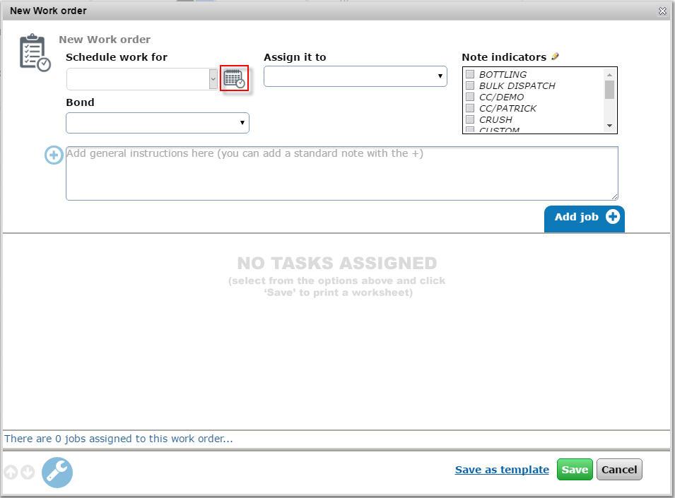Job calendar from work order screen