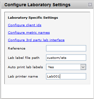 New config lab settings