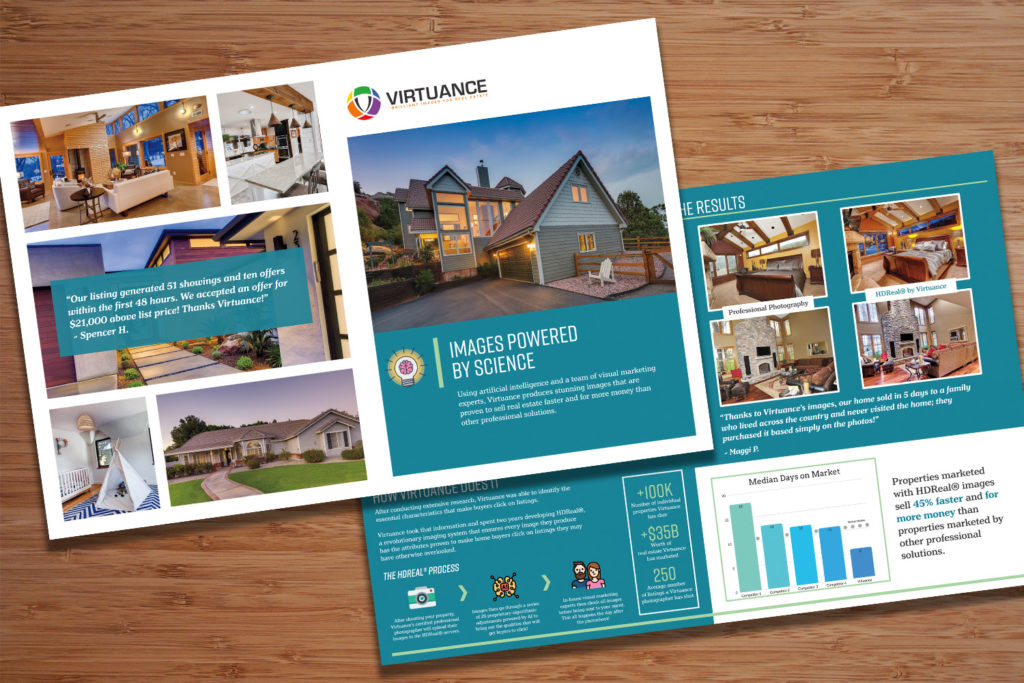 image of a listing brochure back and front with real estate photography statistics