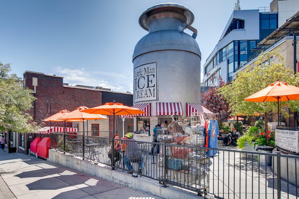 real estate image of neighborhood in denver - little man icecream shop - real estate marketing help
