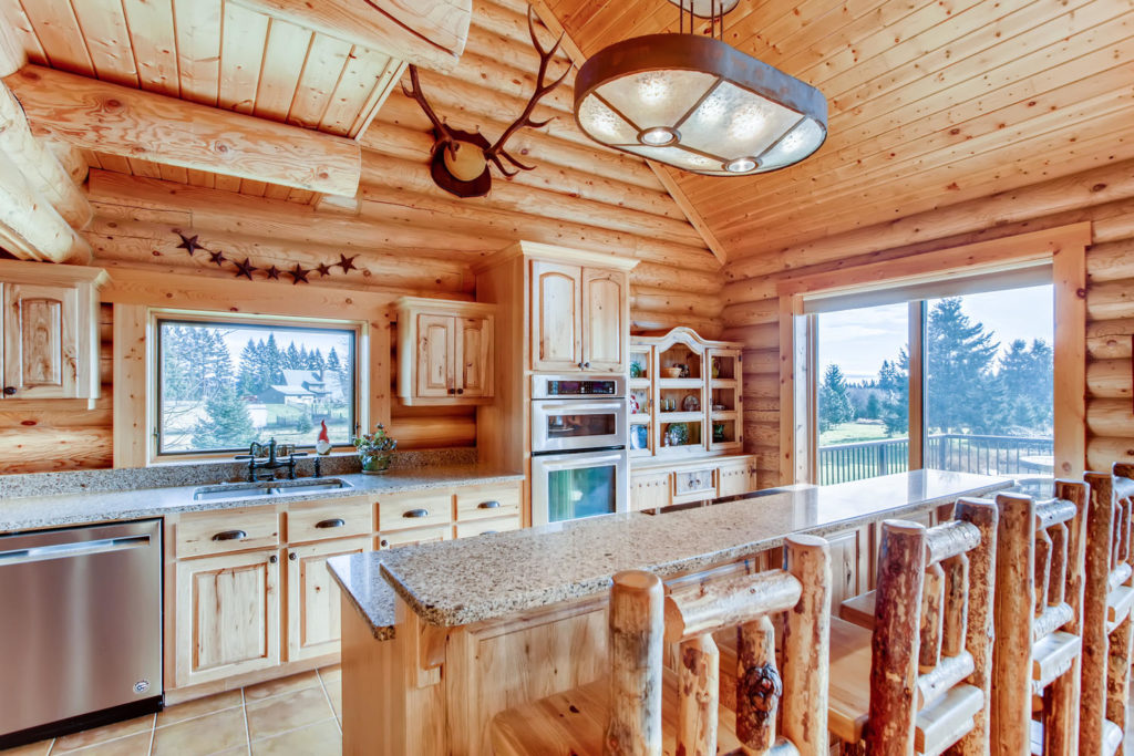 Top real estate listings - kitchen image of log cabin - virtuance