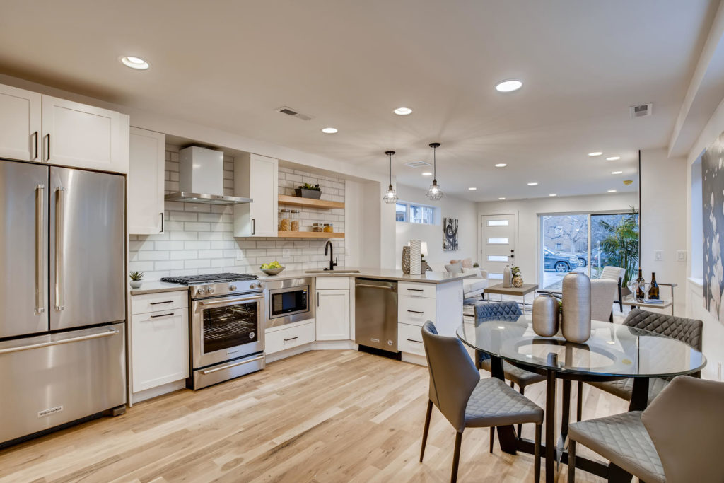 Kitchen of real estate listing - modern row home - virtuance - open shelving, white cabinets