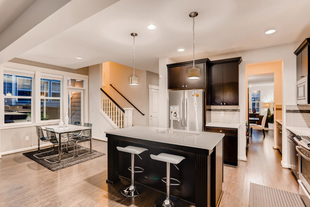 Top real estate image of kitchen with island