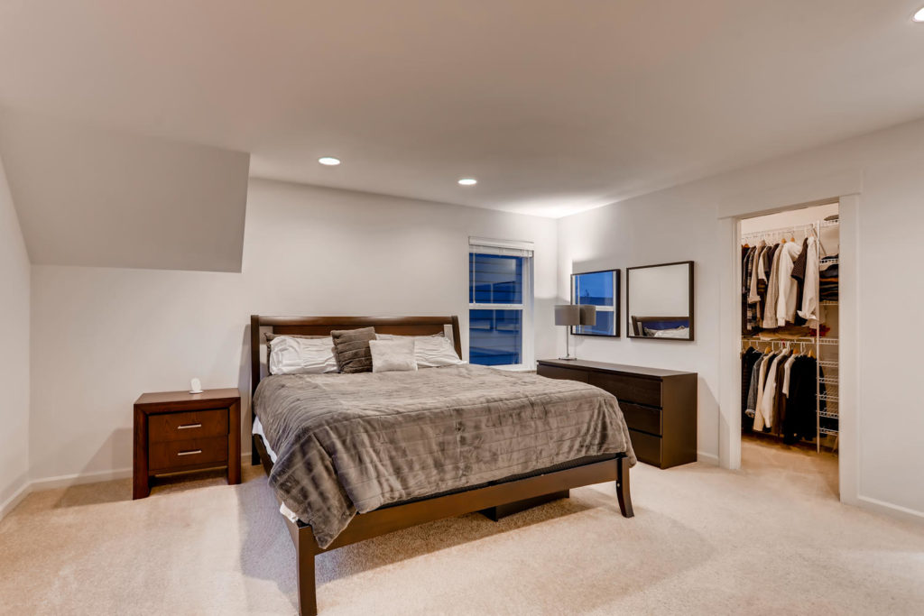 Top real estate image of bedroom at twilight