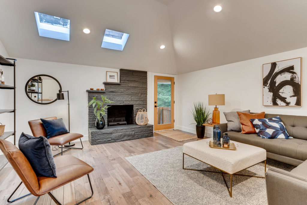 Real estate picture of living room with fireplace