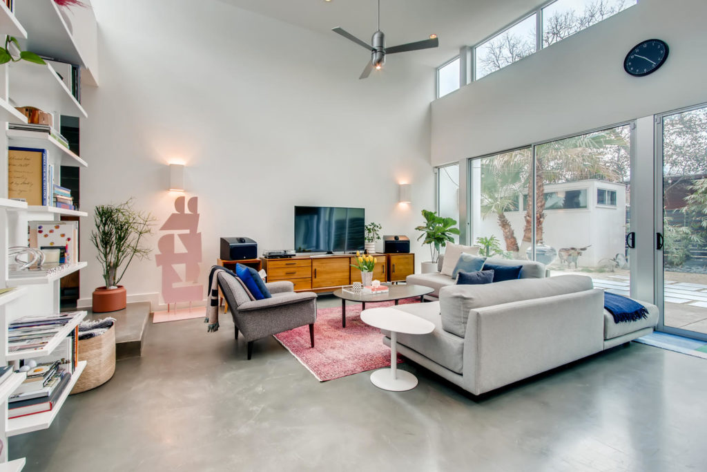 Living room with concrete floors