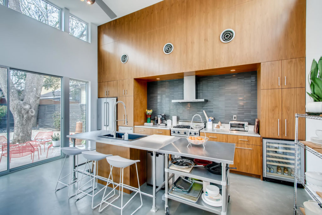 kitchen with wood paneling