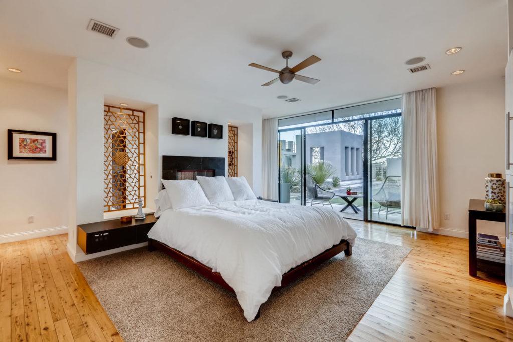 bedroom in modern luxury home