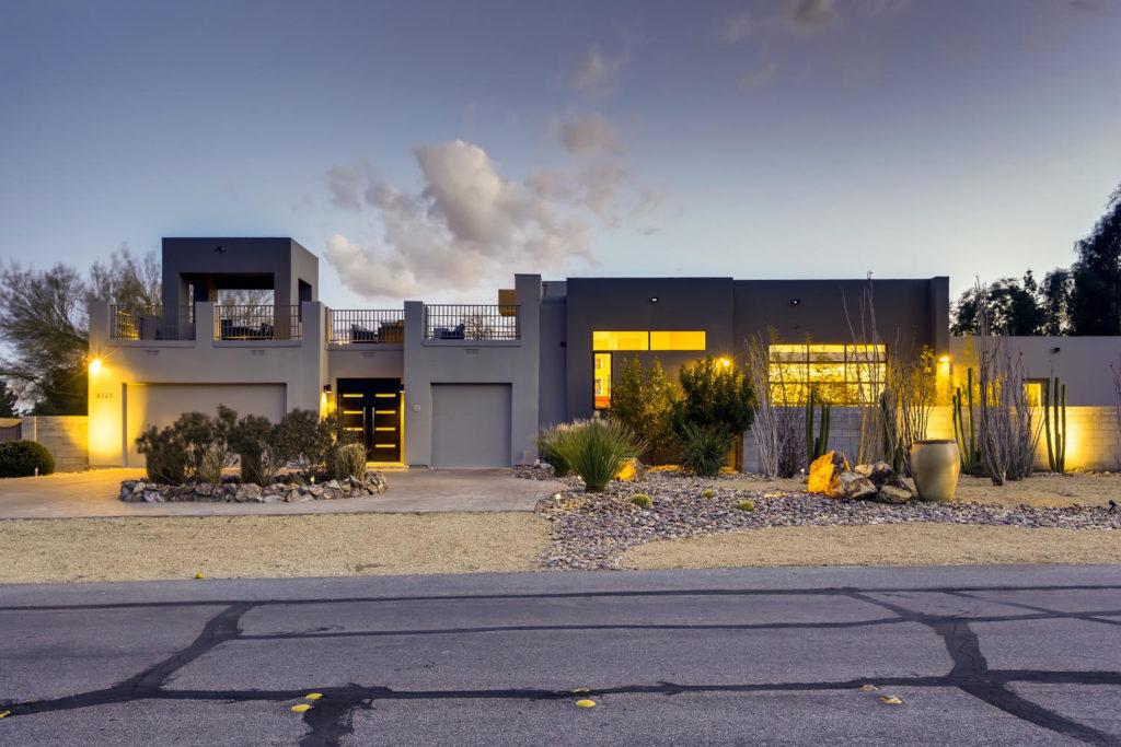 Large modern house at twilight
