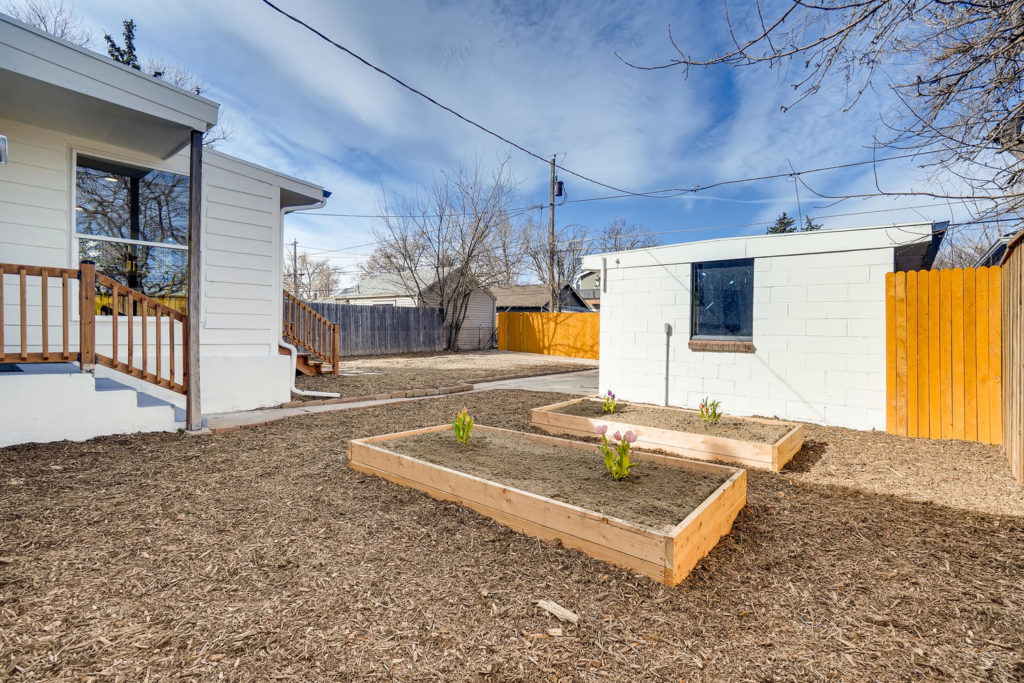 Backyard with garden beds
