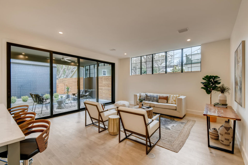 Living room with large patio windows