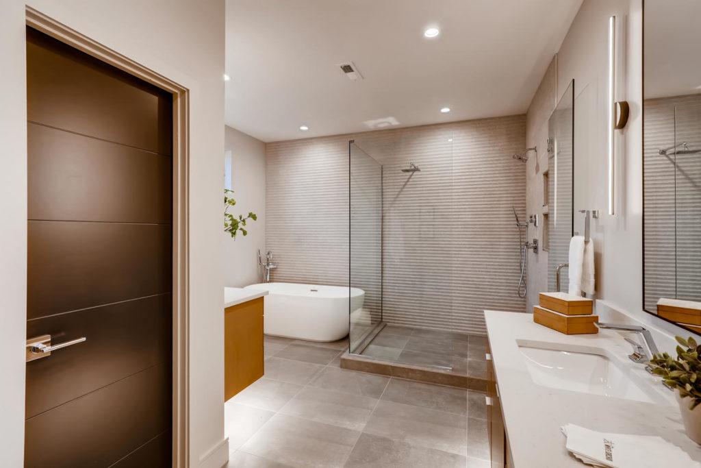 Earthy bathroom with deep soak tub
