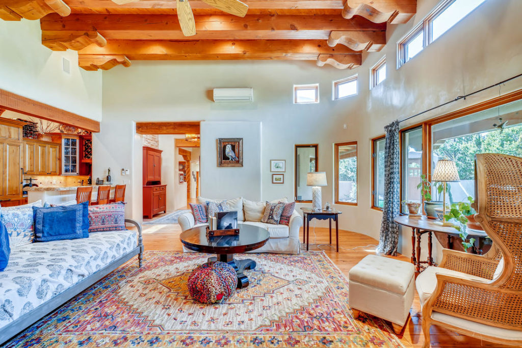Living room with large rug