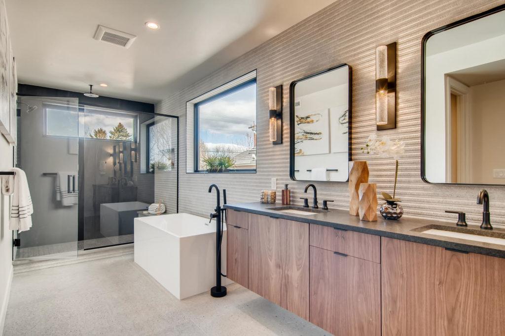 Bathroom with deep soak tub