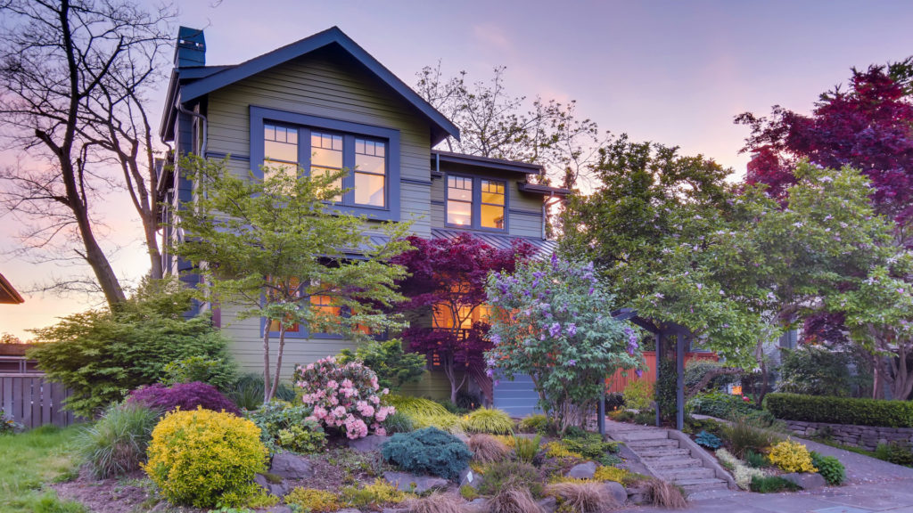 House with beautiful landscaping in Seattle