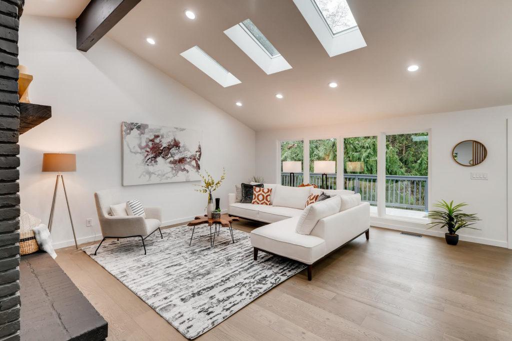 Modern living room with skylights