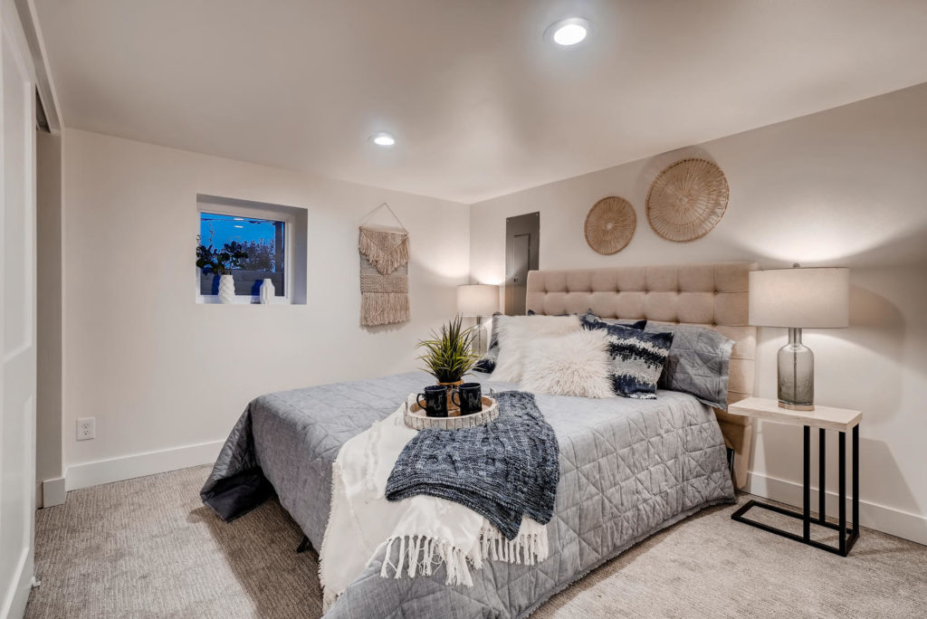 bedroom with basket wall decor