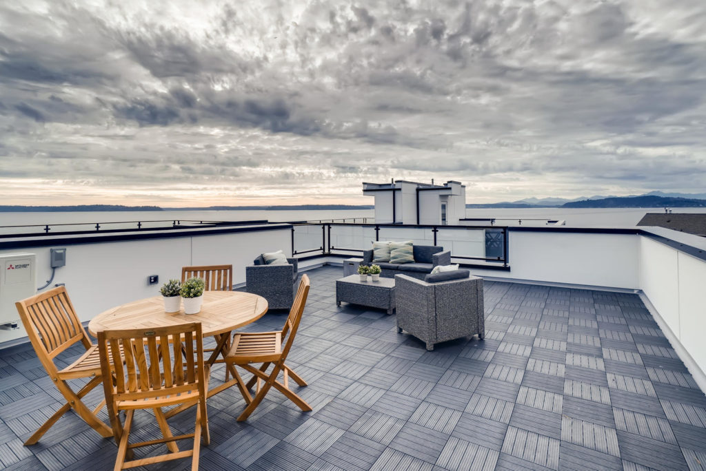 Rooftop patio with ocean view in Seattle